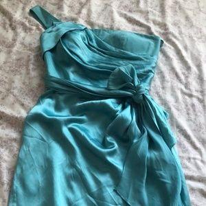 Marc Bouwer Glamit Satin Dress One Shoulder Teal